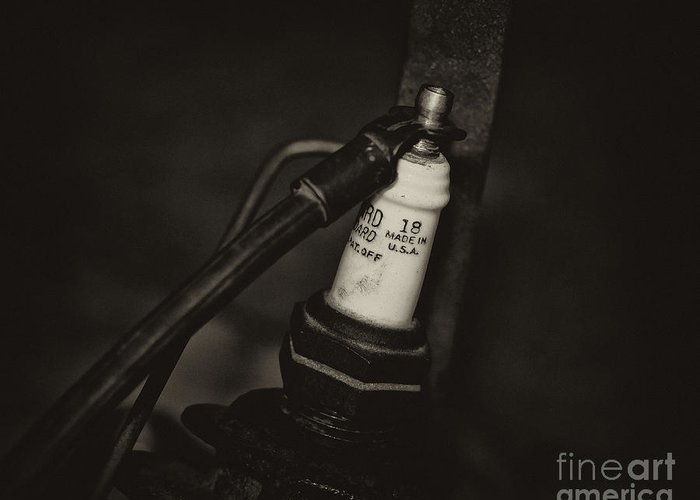 Motorcycle Spark Plugs Greeting Card featuring the photograph Vintage Spark Plug  4 by Wilma Birdwell