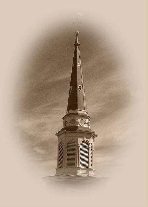 Church Greeting Card featuring the photograph Vintage Steeple by Pharris Art