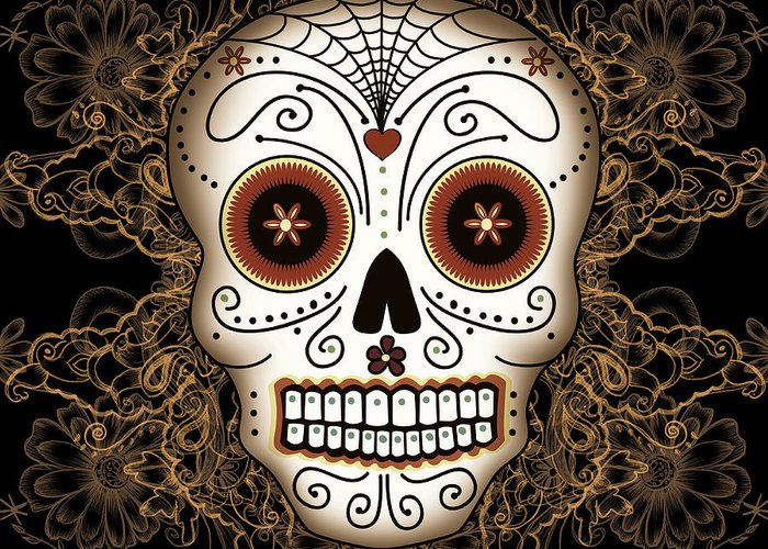 Vintage Greeting Card featuring the drawing Vintage Sugar Skull by Tammy Wetzel