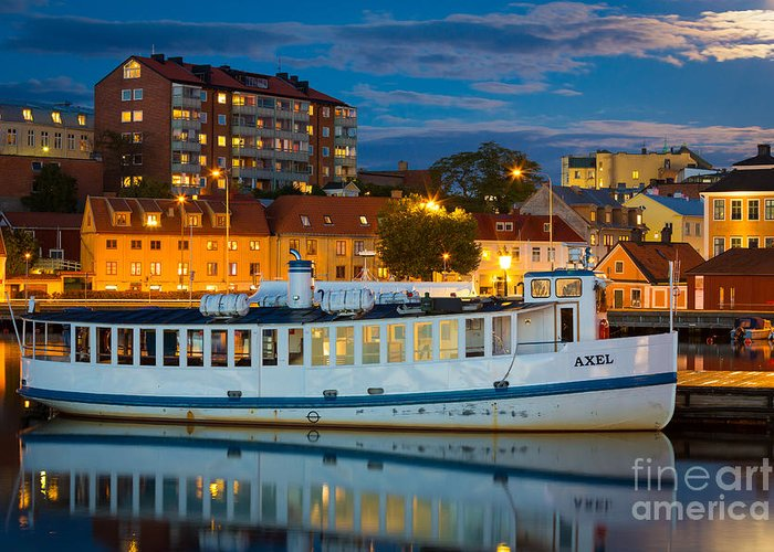 Blekinge Greeting Card featuring the photograph Vintage Swedish Ferry by Inge Johnsson
