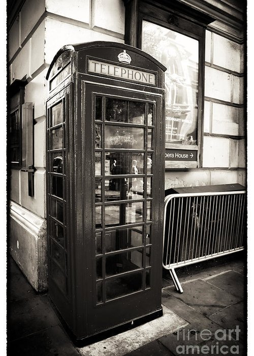 Vintage Telephone Booth Greeting Card featuring the photograph Vintage Telephone Booth by John Rizzuto