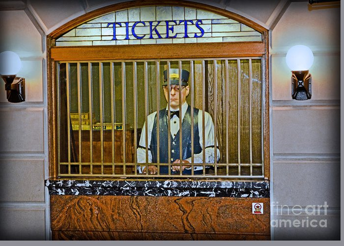 Vintage Train Ticket Booth Greeting Card