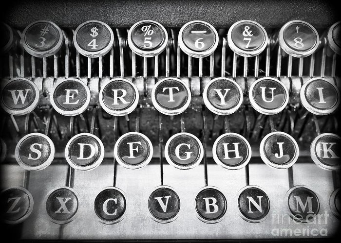 Word Greeting Card featuring the photograph Vintage Typewriter by Edward Fielding