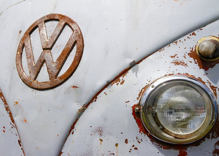 Vw Greeting Card featuring the photograph Vintage Vw Badge by Steve McKinzie