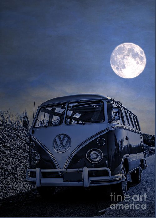 Full Greeting Card featuring the photograph Vintage Vw Bus Parked At The Beach Under The Moonlight by Edward Fielding