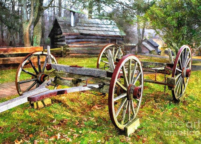 North Carolina Greeting Card featuring the photograph Vintage Wagon On Blue Ridge Parkway I by Dan Carmichael