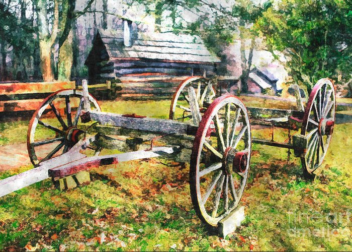 North Carolina Greeting Card featuring the painting Vintage Wagon On Blue Ridge Parkway II by Dan Carmichael