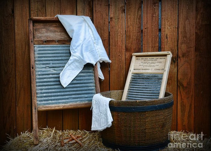 Paul Ward Greeting Card featuring the photograph Vintage Washboard Laundry Day by Paul Ward