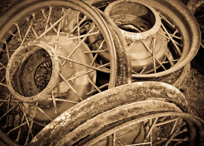 Deserted Greeting Card featuring the photograph Vintage Wire Wheels by Steve McKinzie