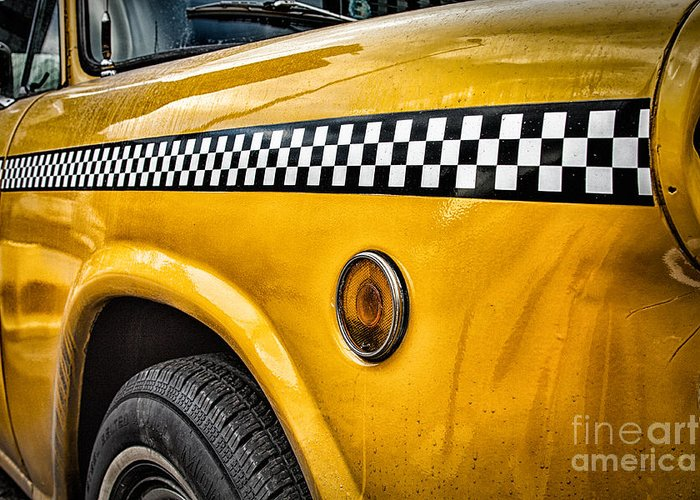 Vintage Nyc Cab Greeting Card featuring the photograph Vintage Yellow Cab by John Farnan