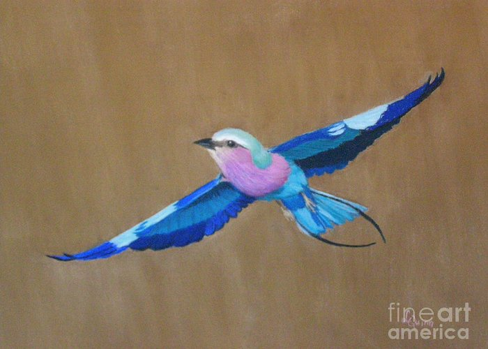 Colorful Bird Greeting Card featuring the painting Violet-breasted Roller Bird II by Lynn Quinn