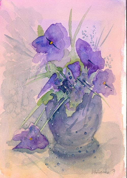 Purple Greeting Card featuring the painting Violets by Christina Rahm Galanis