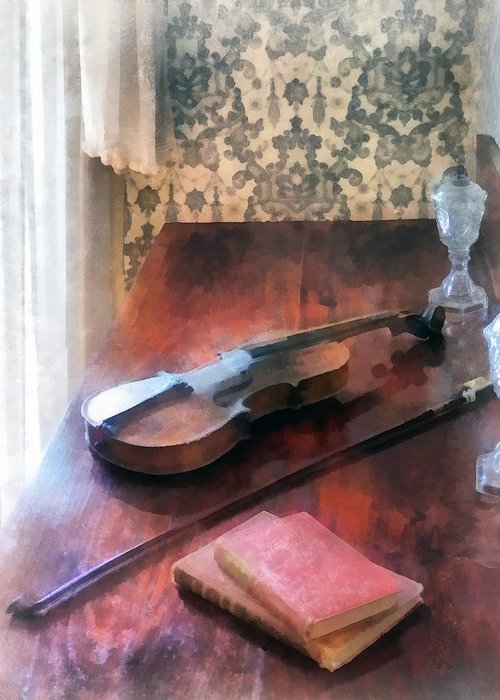 Violin Greeting Card featuring the photograph Violin On Credenza by Susan Savad