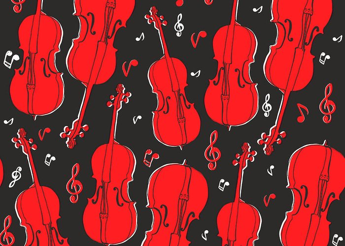 Play Greeting Card featuring the digital art Violin Pattern by Subbery