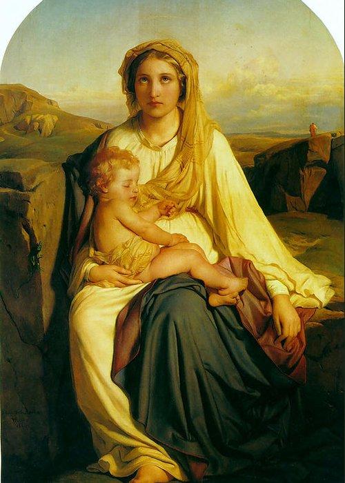Paul Delaroche Greeting Card featuring the digital art Virgin And Child by Paul Delaroche
