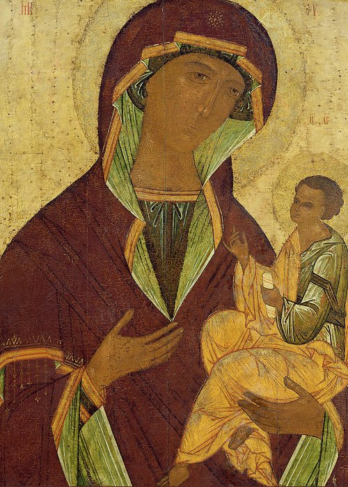 Madonna; Mary; Jesus Christ; Icon; Scroll; Byzantine Greeting Card featuring the painting Virgin And Child by Russian School