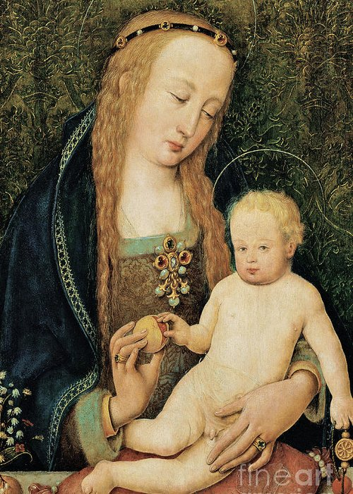Madonna And Child Greeting Card featuring the painting Virgin And Child With Pomegranate by Hans Holbein the Younger
