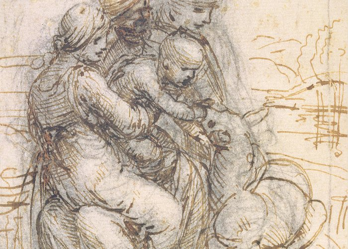 Madonna Greeting Card featuring the drawing Virgin And Child With St. Anne by Leonardo da Vinci