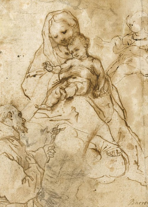 Virgin Mary Greeting Card featuring the drawing Virgin And Child With Saint Francis by Federico Fiori Barocci or Baroccio
