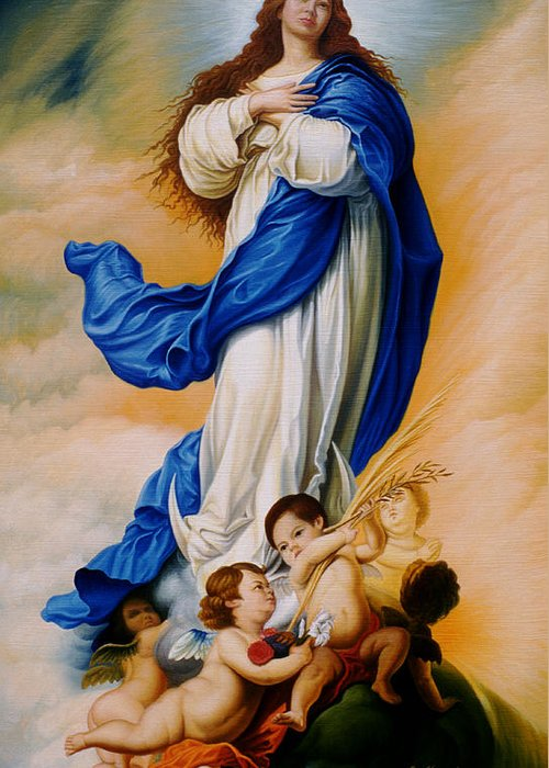 Immaculate Conception Greeting Card featuring the painting Virgin Of The Immaculate Conception After Murillo by Gary Hernandez