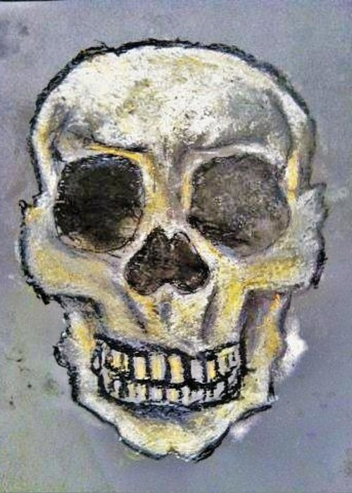 Skull Greeting Card featuring the painting Virgin Skull by Clark Holladay