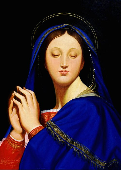 Religious Greeting Card featuring the painting Virgin With The Host After Ingres by Gary Hernandez