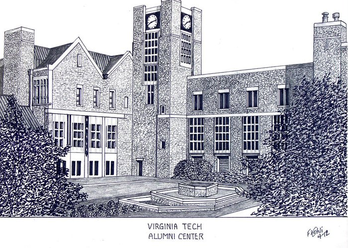 Pen And Ink Drawings Greeting Card featuring the drawing Virginia Tech by Frederic Kohli
