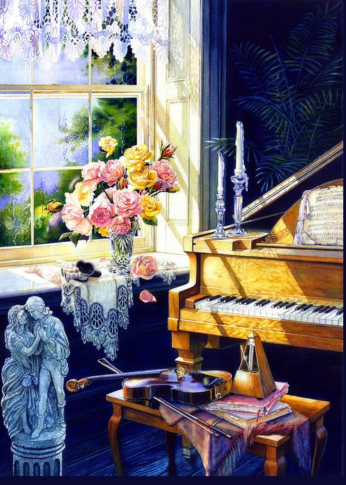 Piano Greeting Card featuring the painting Virginia Waltz by Hanne Lore Koehler
