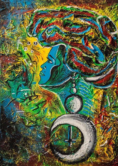 Visage Bleu Greeting Card featuring the painting Visage Bleu by Kenal Louis