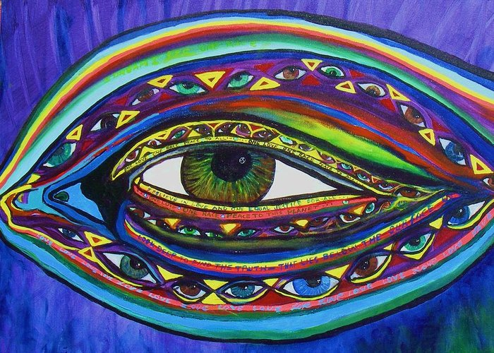 Vision Greeting Card featuring the painting Vision by J Andrel