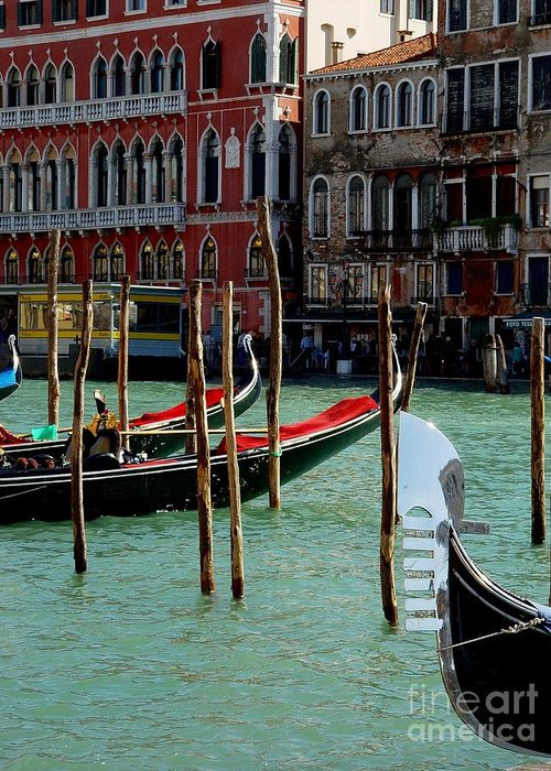 Gondolas Greeting Card featuring the photograph Visions Of Venice 4. by Nancy Bradley