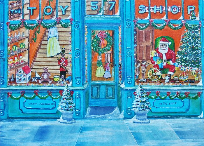 Santa Claus Greeting Card featuring the painting Visit To The Toy Shop Santa by Gordon Wendling