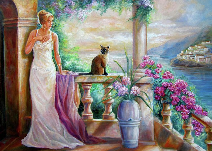 Fine Art Greeting Card featuring the painting Visit With A Furry Friend by Regina Femrite