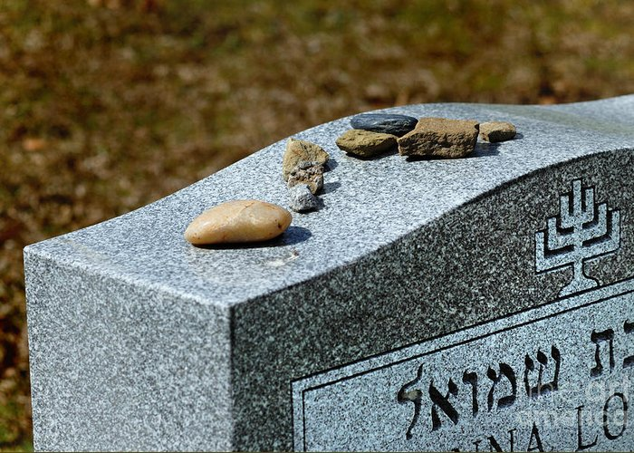 Cemetery Greeting Card featuring the photograph Visitation Stones On Jewish Grave by Amy Cicconi
