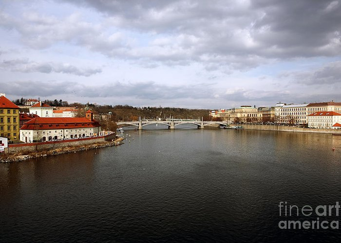 Vltava River View Greeting Card featuring the photograph Vltava River View by John Rizzuto