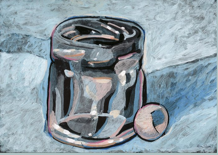 Shot Glass Greeting Card featuring the painting Vodka Shot Glass In Snow by Richard Glen Smith