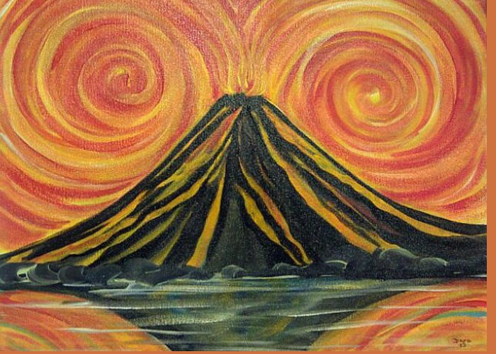 Abstract Volcano Greeting Card featuring the painting Volcano Madness by Deyanira Harris