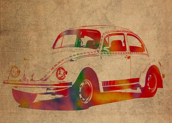 Vw Beetle Mixed Media Greeting Cards