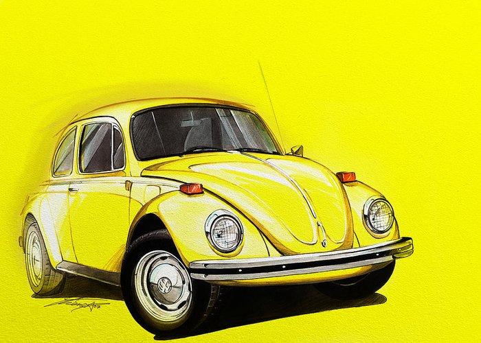 volkswagen beetle vw yellow greeting card for saleetienne carignan
