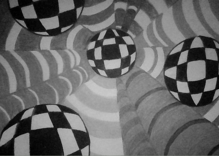 Checkered Balls Floating Abstract Tubes. Black And White Greeting Card featuring the mixed media Volley At The Beach by Joyce Webster