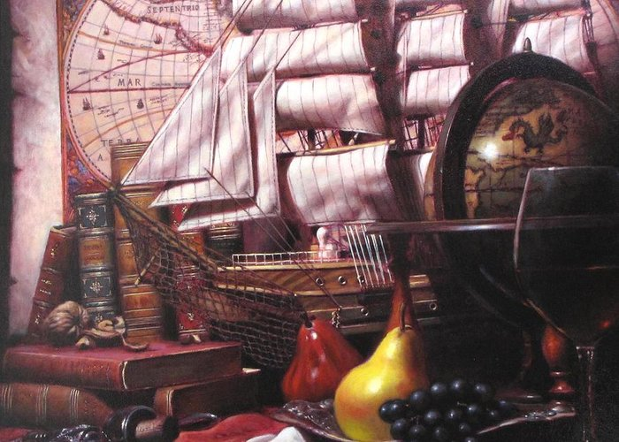 Still Life Greeting Card featuring the painting Voyage Round The World by Takayuki Harada
