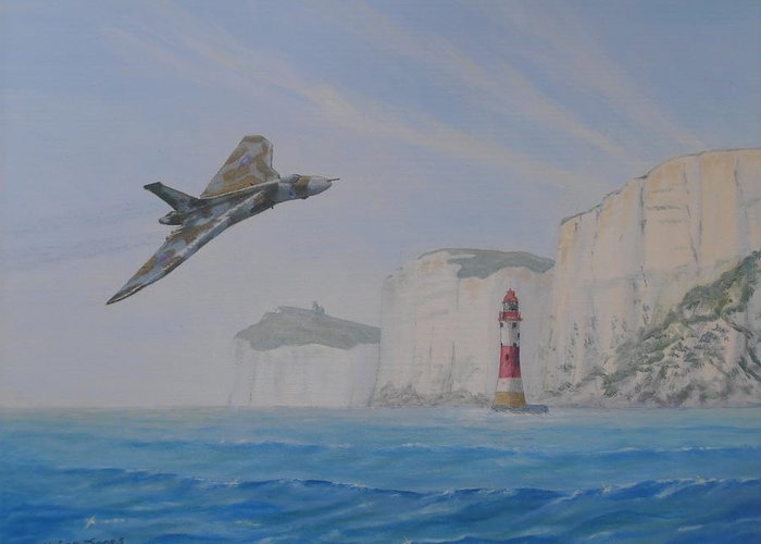 Xh558 Greeting Card featuring the painting Vulcan Xh558 Passing Beachy Head by Elaine Jones