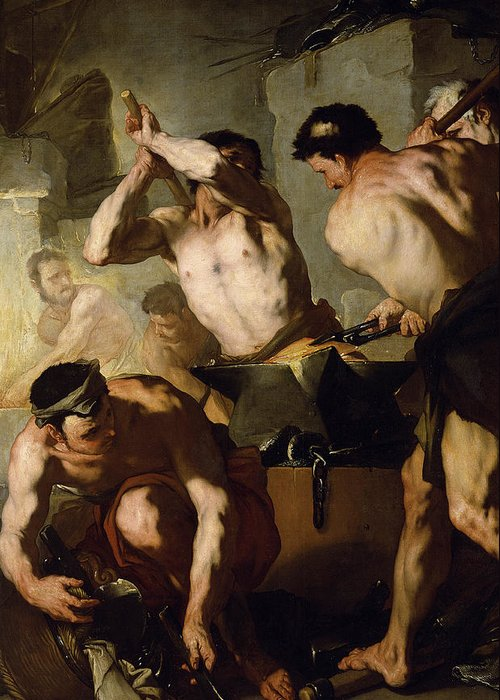 Neapolitan School Greeting Card featuring the painting Vulcans Forge by Luca Giordano