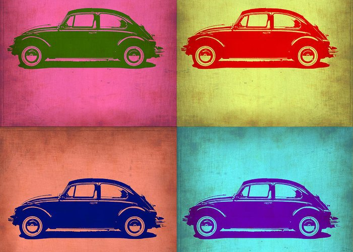 Vw Beetle Greeting Card featuring the painting Vw Beetle Pop Art 1 by Naxart Studio
