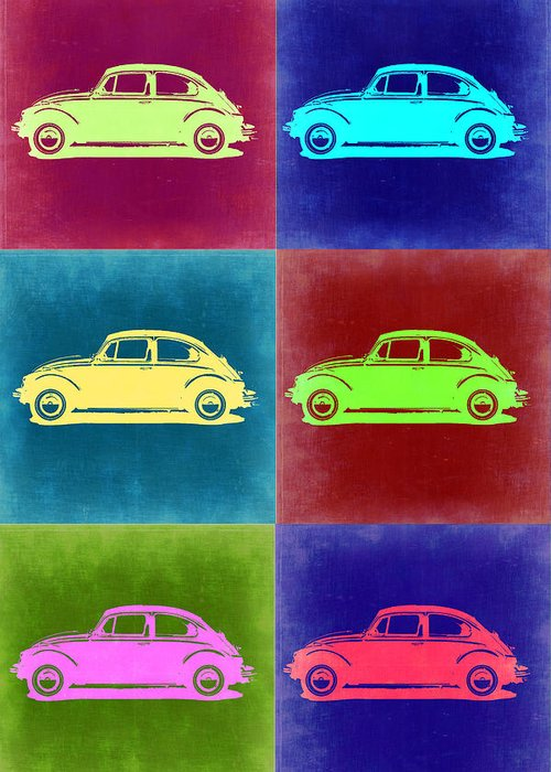 Greeting Card featuring the painting Vw Beetle Pop Art 2 by Naxart Studio