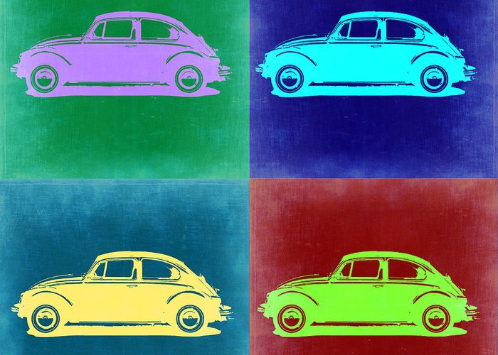 Greeting Card featuring the painting Vw Beetle Pop Art 3 by Naxart Studio