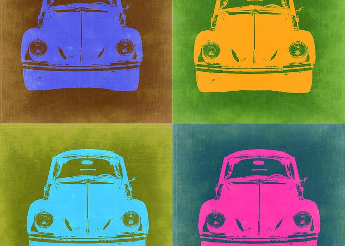 Vw Beetle Greeting Card featuring the painting Vw Beetle Pop Art 6 by Naxart Studio