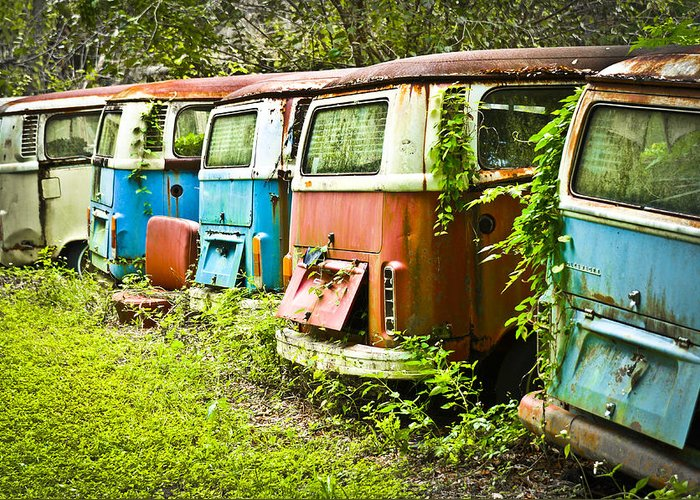 Volkswagen Greeting Card featuring the photograph Vw Buses by Carolyn Marshall