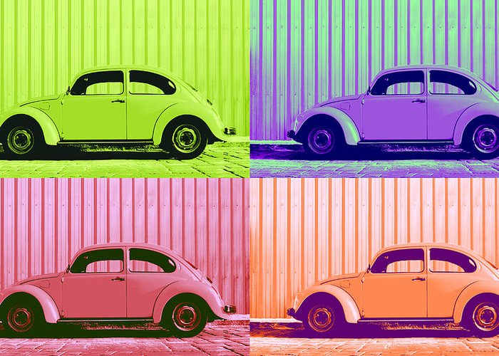 Classic Vw Beetle Car Pop Art Colors 4 Four Square Stripes Blue Purple Lime Green Orange Red Series Gallery Collage Fun Happy Bright Vibrant Pastels Color Colorful Colourful Uplifting Sunny Lively Metallic Sheet Metal Wall Lines Rivets Cobblestone Street Art Gift For Classic German Car Pop Art Lover Laura Fasulo Laurarama Samsung Galaxy Phone Case Iphone Cases Vw Pop Spring Greeting Card featuring the photograph Vw Pop Spring by Laura Fasulo