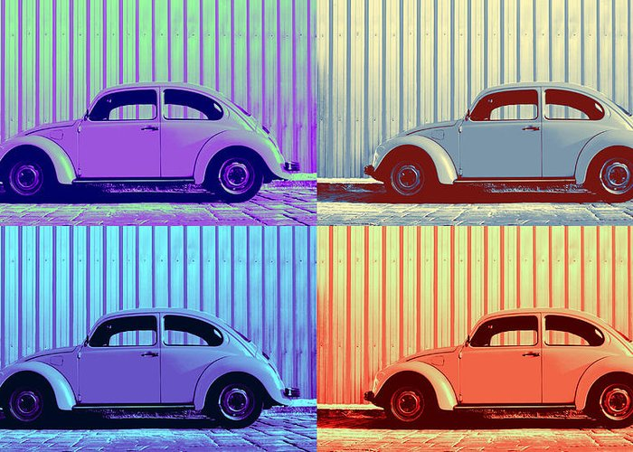 Classic Vw Beetle Car Pop Art Colors 4 Four Square Stripes Blue Purple Lime Green Orange Red Series Gallery Collage Fun Happy Bright Vibrant Pastels Color Colorful Colourful Uplifting Sunny Lively Metallic Sheet Metal Wall Lines Rivets Cobblestone Street Art Gift For Classic German Car Pop Art Lover Laura Fasulo Laurarama Samsung Galaxy Phone Case Iphone Cases Vw Pop Winter Greeting Card featuring the photograph Vw Pop Winter by Laura Fasulo